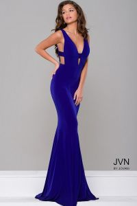 Sexy and simple floor length form fitting royal jersey ...