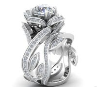Museum 2.1TCW Russian Lab Diamond Floral Wedding Band Ring ...