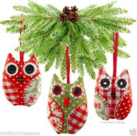 OWL Handmade Fabric Christmas Tree Decoration / Wedding ...