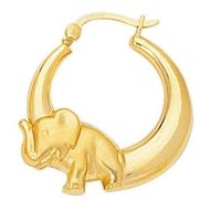 macy's elephant yellow gold hoop earring