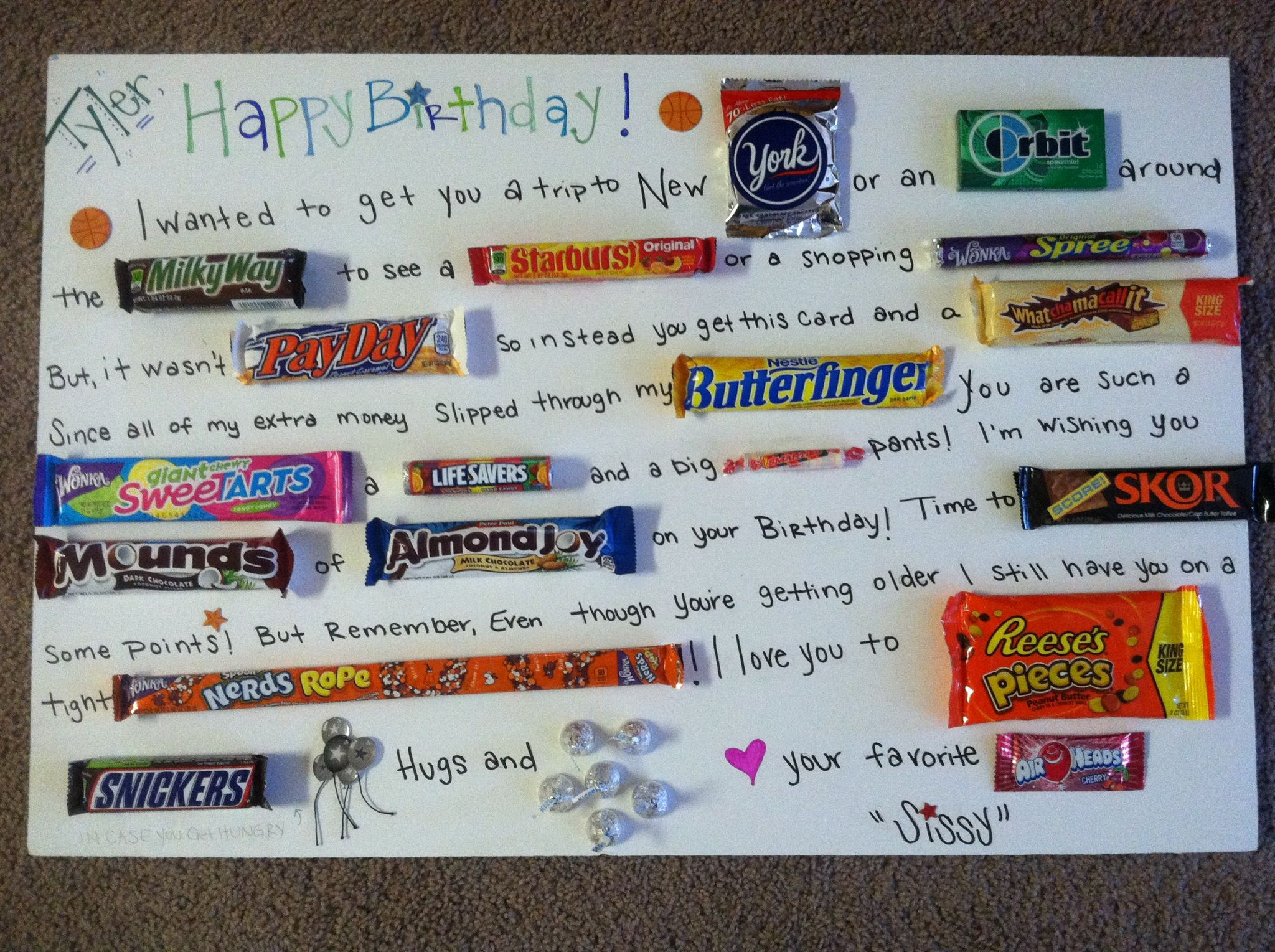 Birthday Candy Card For My Little Brother Things I've