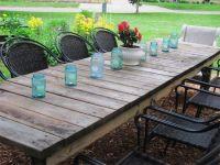 outdoor garden weathered long rectangular farmhouse table ...