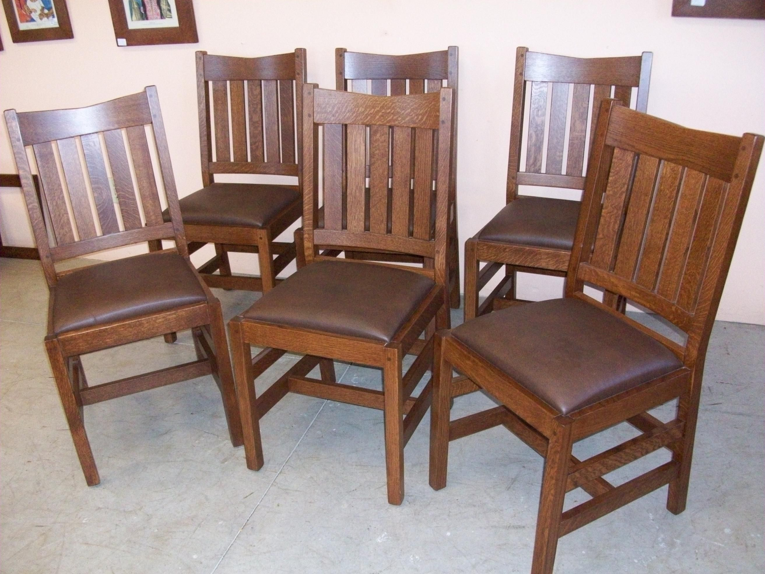 Oak Dining Chair Set Of 6 New Mission Oak Dining Chairs Home Living