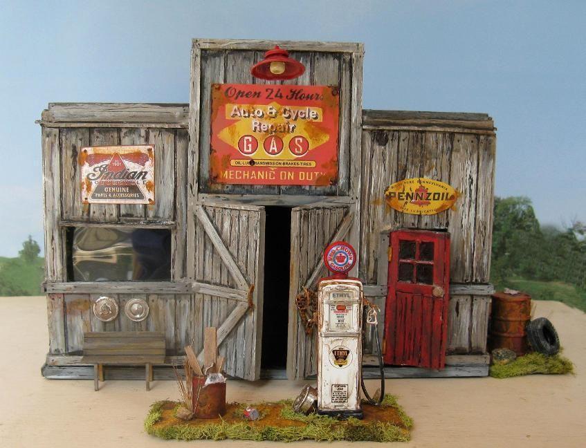 Scratch Built Gas Station Diorama  O Scale Model Train Buildings  Pinterest  Model train