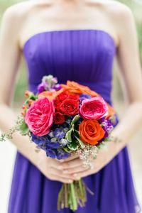 bridesmaid bouquet with Regency purple bridesmaid dresses ...
