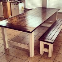 Stained and Distressed Farmhouse Table and Bench | Do It ...
