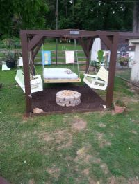 Our Oasis! Swings, fire pit and bed we did rubber mulch ...