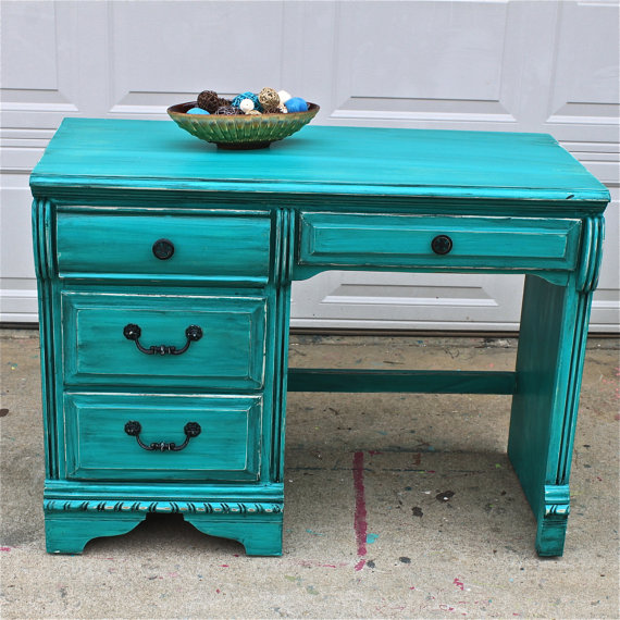 Patina Green Vintage Desk Turquoise Vanity by