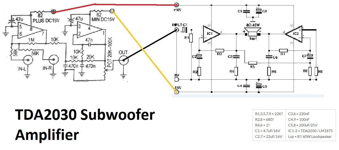 TDA2030 make for Subwoofer Amplifier Circuit using