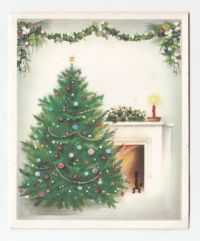 Vintage Norcross Greeting Card Decorated Christmas Tree ...