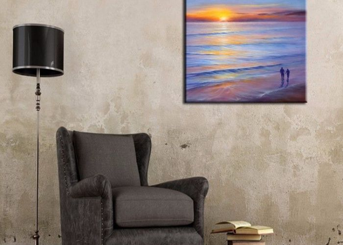 Modern wall art best price hand painted abstract landscape oil paintings on canvas romantic lover walking also