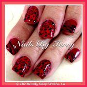 red and black animal print gel