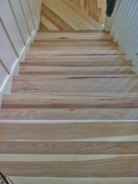 Hickory stair treads before they were stained Dark Walnut ...