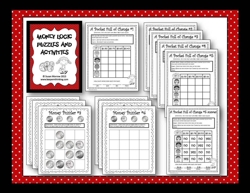 Free Money Logic Puzzles Great For Teaching Deductive Reasoning