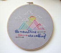 Aztec Mountains Embroidery Hoop Art Nursery Decor Hand