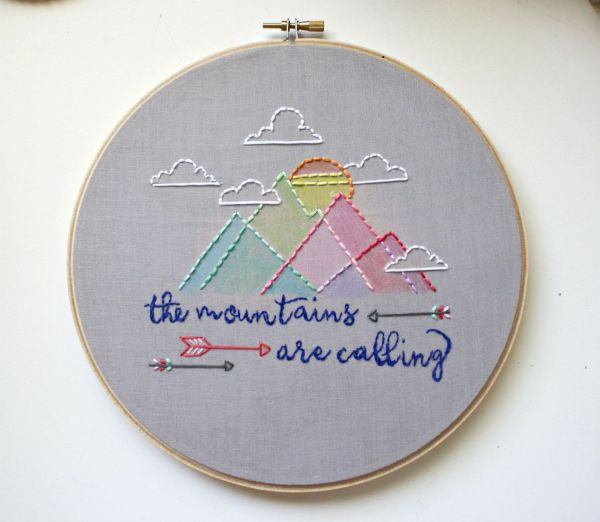 Aztec Mountains Embroidery Hoop Art Nursery Decor Hand