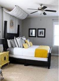 masculine bedroom, canopy bed, bedroom ceiling fan, guest ...