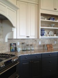 White upper cabinets with charcoal base cabinets, bronze ...