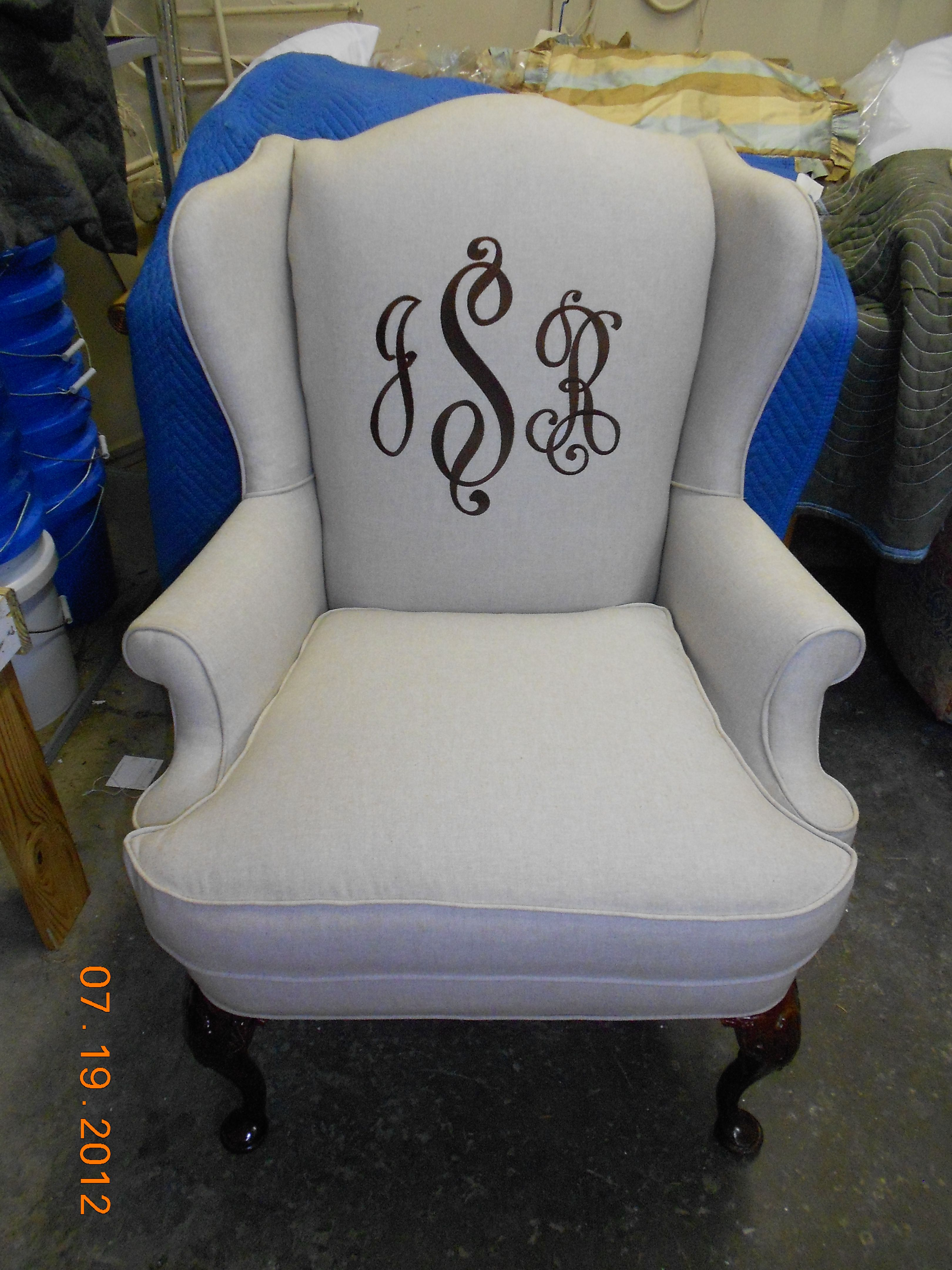 Monogram Chair Monogrammed Wing Back Chair For A Client Embroidery