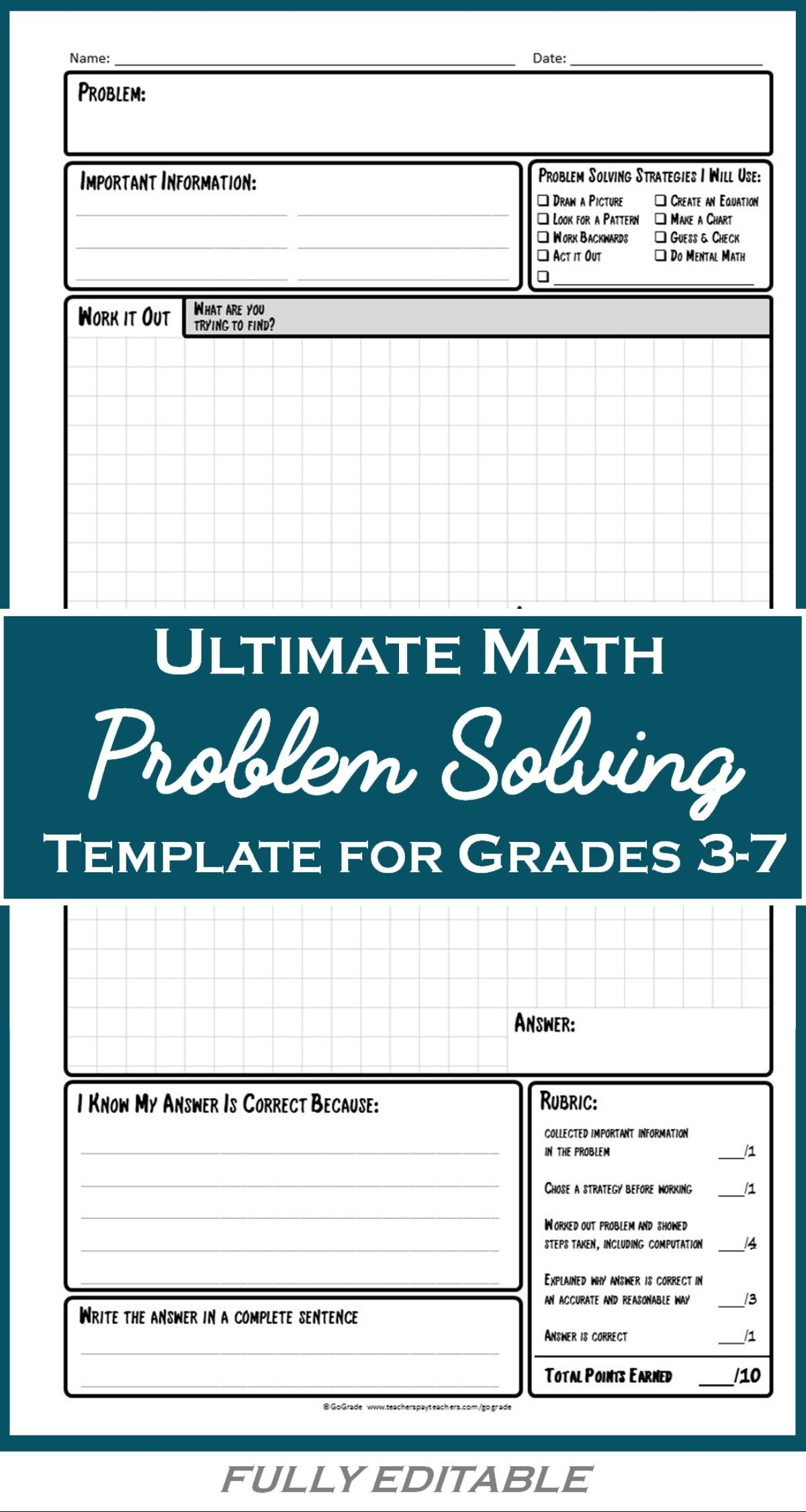 Math Problem Solving Template A Structured Approach To