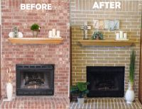 Cheap Easy Fireplace Makeover! Concrete stain got rid of ...