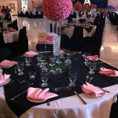 Baby Blue Wedding Chair Covers Red Desk Ikea Paris Theme | Black, White And Pink Table Arrangement & Flower Ball Rental ...