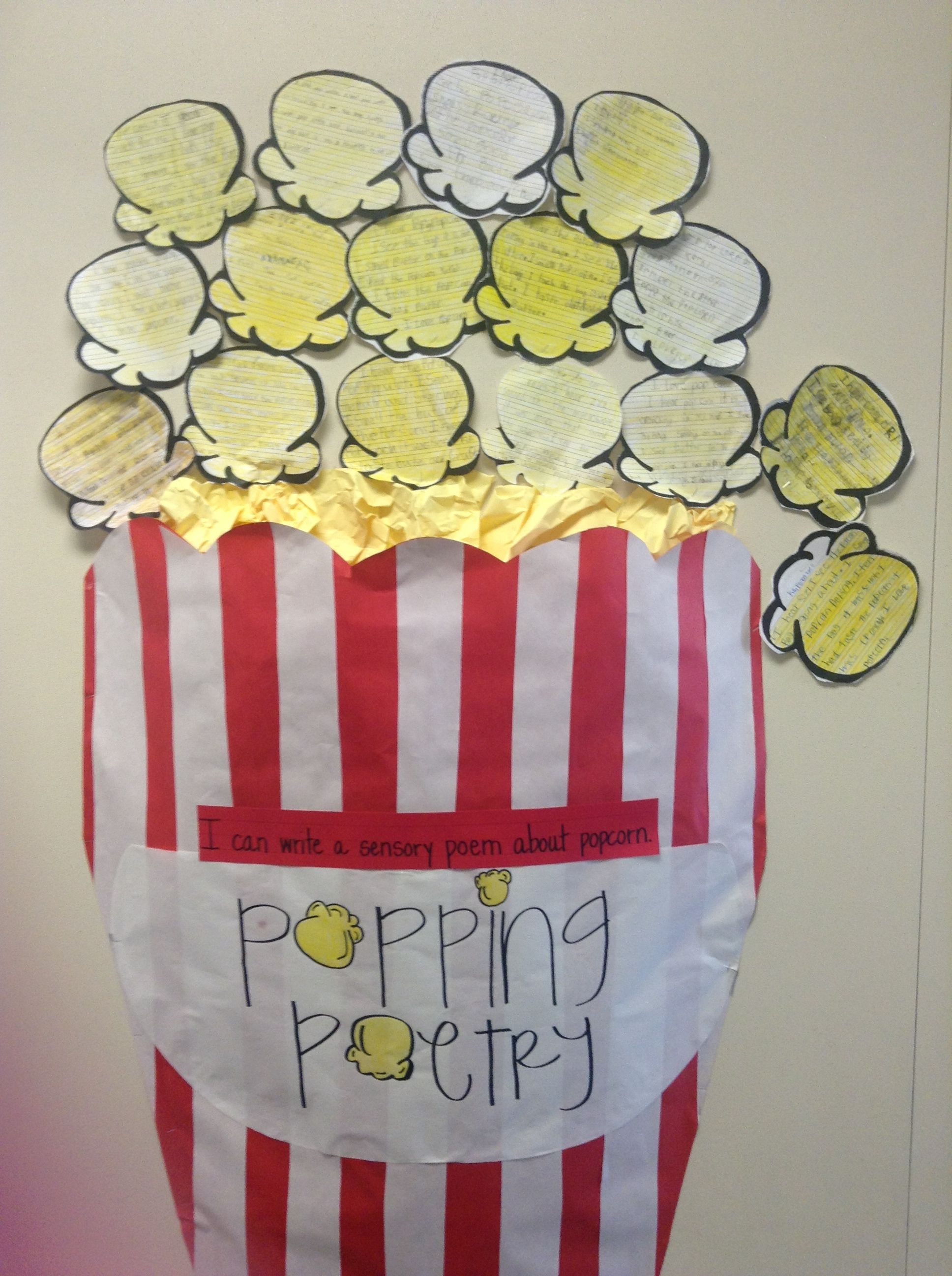 A Way To Display Our Sensory Poems About Popcorn