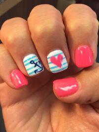 Summer nails design anchor pink June gel nail mani heart ...