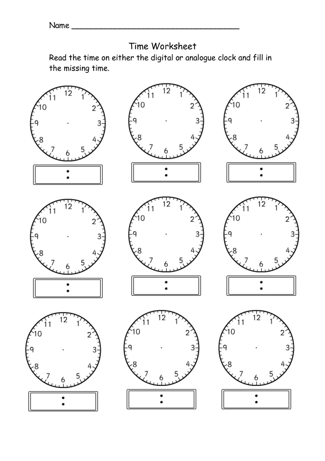 Blank Clock Worksheet To Print For Your Kids Assessment In