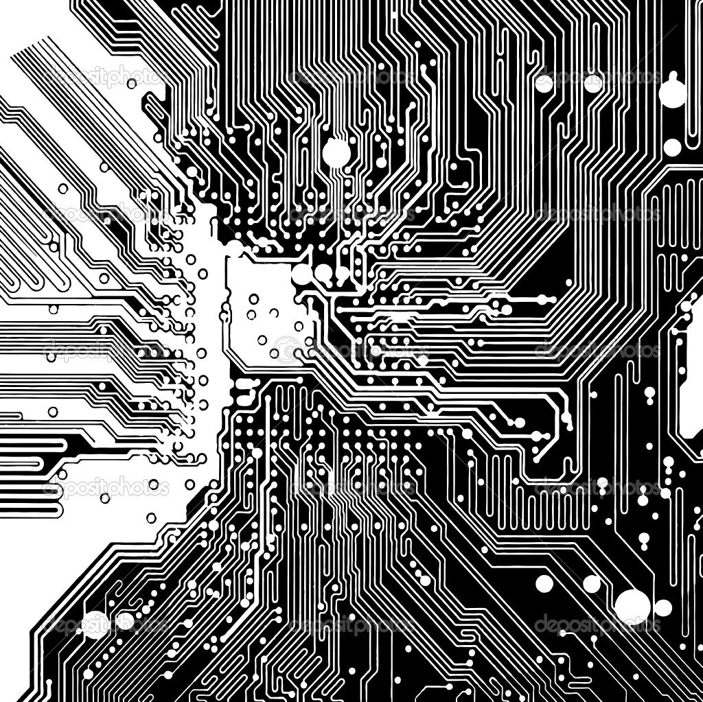 Circuit Board Computer Style Brain Vector Technology Background Eps10