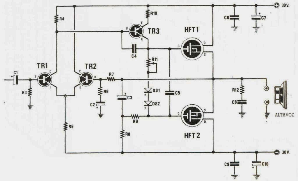 pin mosfet amplifier circuit diagram 18 watts on pinterest