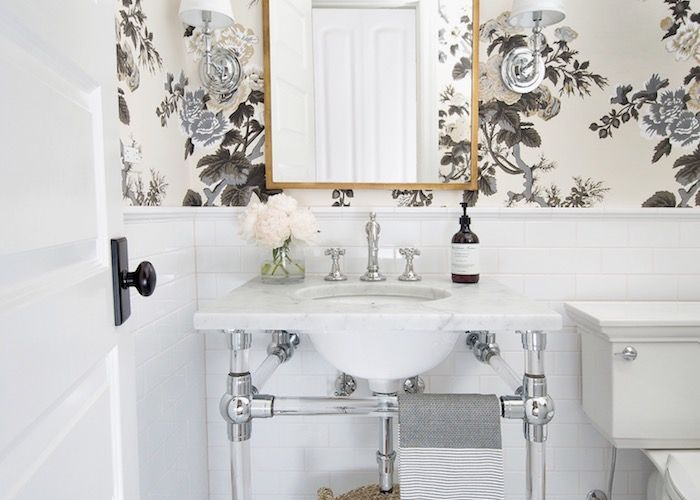 One room challenge fall powder reveal white subway tiles marble floor and also