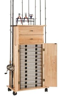 18 Rod Tackle Storage Cabinet, Rod Rack, Fishing Gear ...