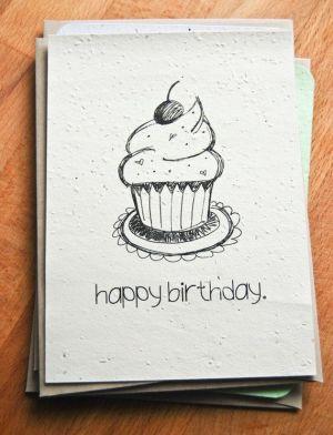 birthday card happy cards drawing diy designs paper hand drawings seed plantable drawn verjaardag illustrated cupcake draw dad simple yahoo