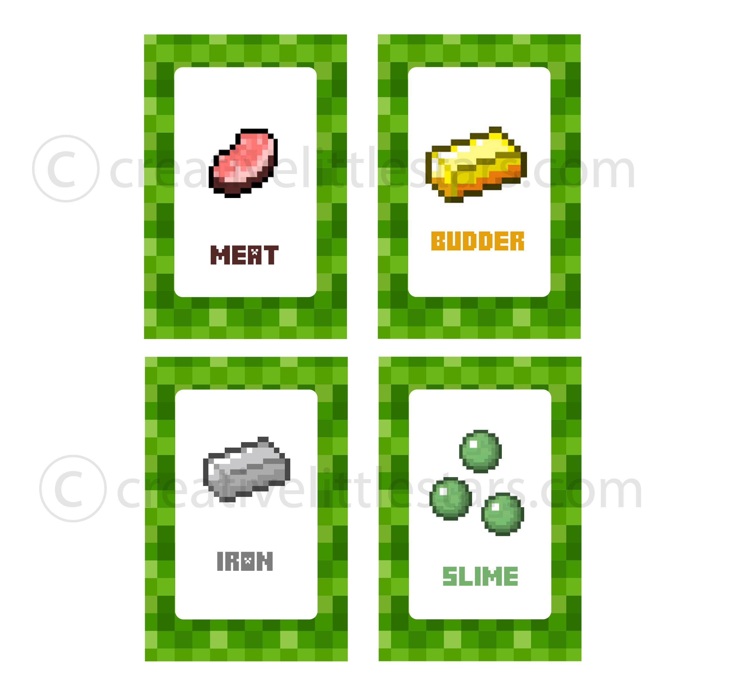 Free Printable Minecraft Food Tent Labels