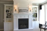 fireplaces with bookshelves on each side | ... the shelves ...