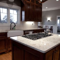 Kitchen Island With Sink And Stove Top Green Decor Classy Black Gas On White Cambria Quartz Granite