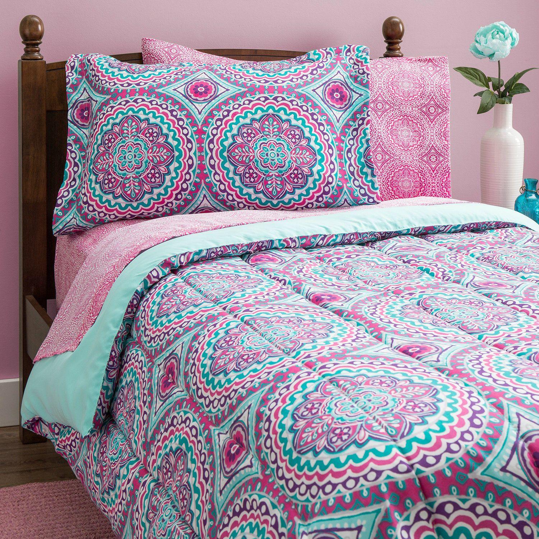 Teen Girls Bedding Twin Mint Green Teal Purple Comforter
