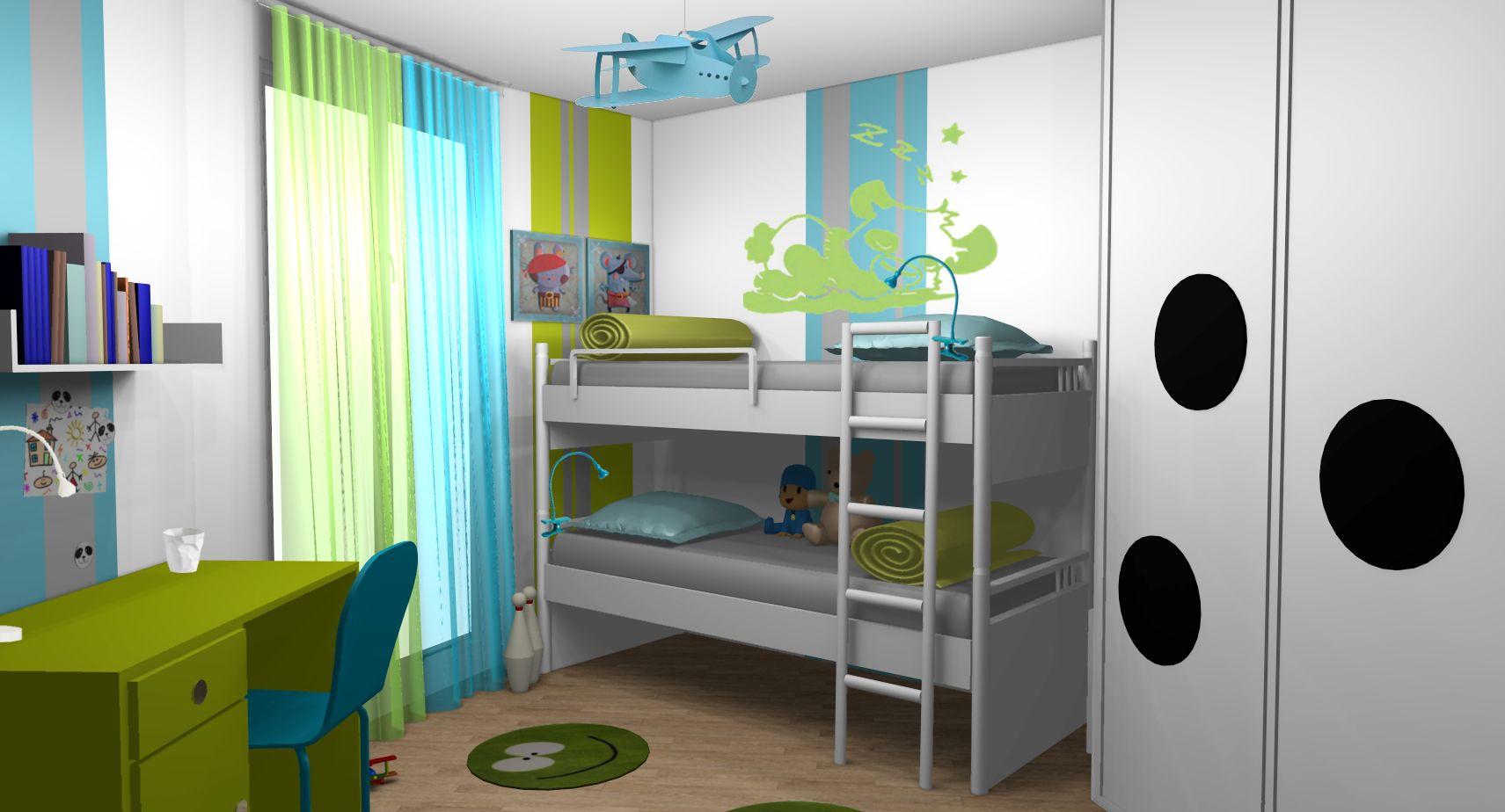 Chambre enfant garons anis turquoise lits superposs  Dco chambre garon  Pinterest
