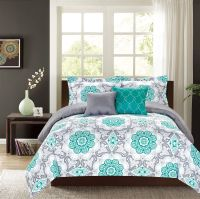 Crest Home Sunrise King Comforter 5 Pc. Bedding Set, Teal ...