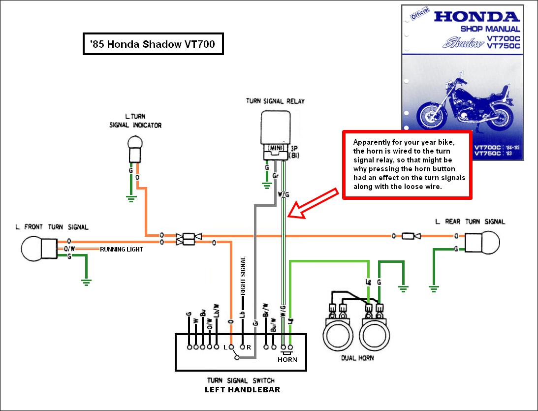 motorcycle honda shadow wiring diagram 1988 vt1100 turning signal
