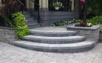front walkways | Curved front step with retaining walls ...