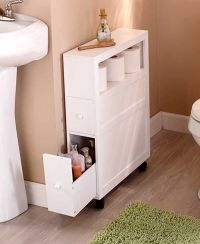 Slim Bathroom Storage Cabinet Rolling 2 Drawers Open Shelf