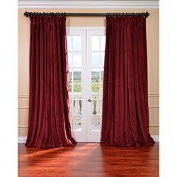 Exclusive Fabrics Burgundy Velvet Blackout Extra Wide Curtain