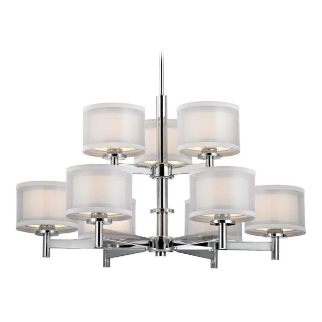 Dolan Designs Lighting Modern Chandelier With White Shades In Chrome Finish 1272 26