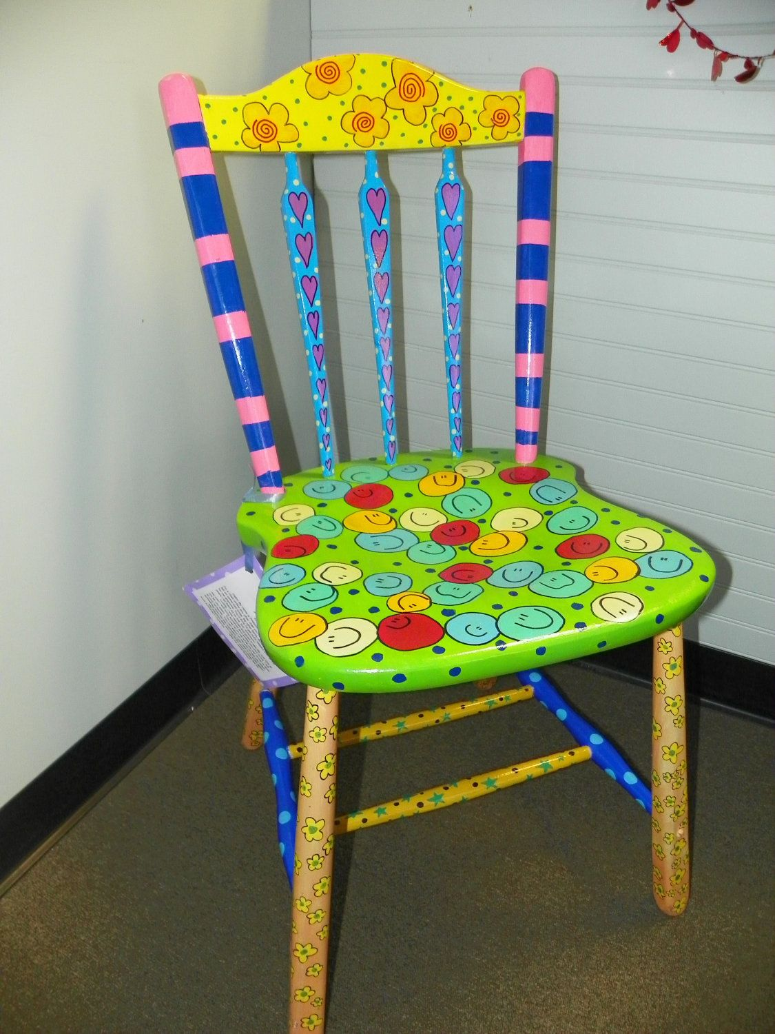 funky wooden chairs accent chair with brown leather sofa bright eclectic hand painted one of a kind