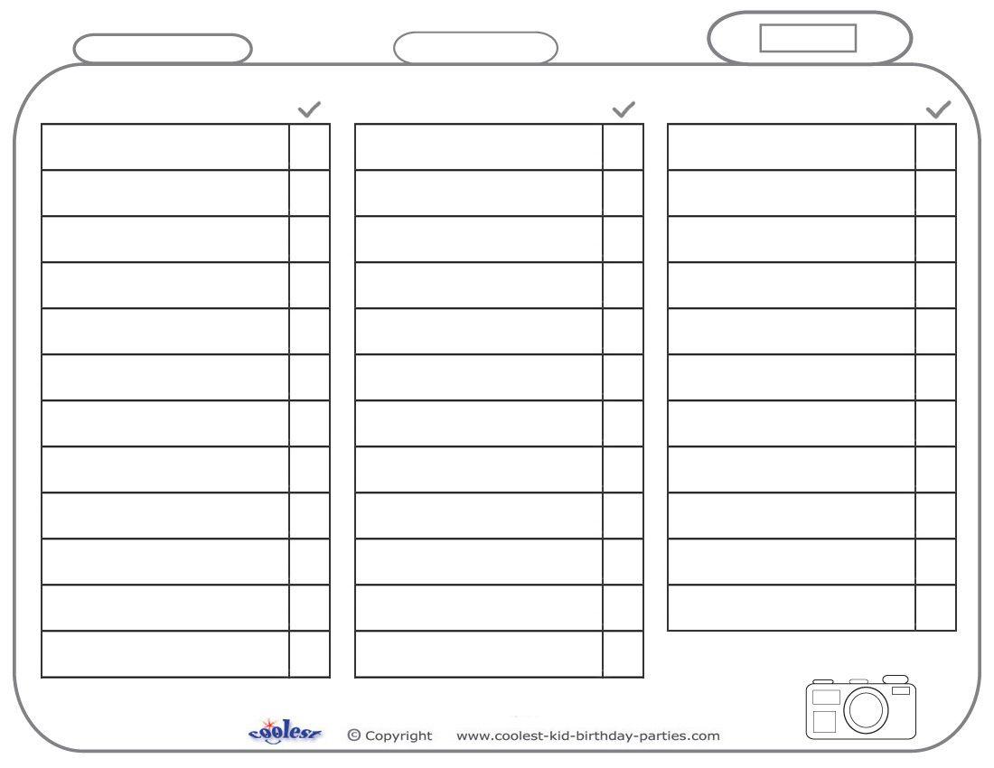 Blank Printable Photo Scavenger Hunt List