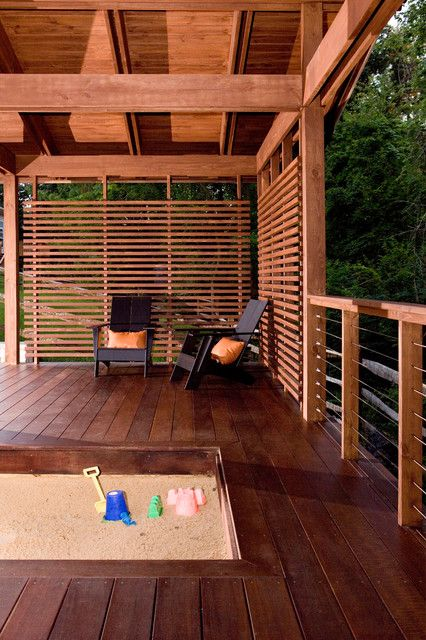 partially covered deck with privacy