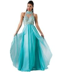 Gorgeous aqua blue prom dress 2015 with beaded embroiderry ...