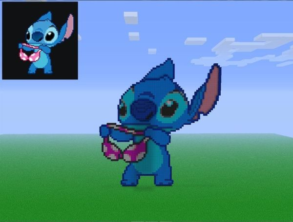Pixel Stitch holding a bra In Minecraft by Michel